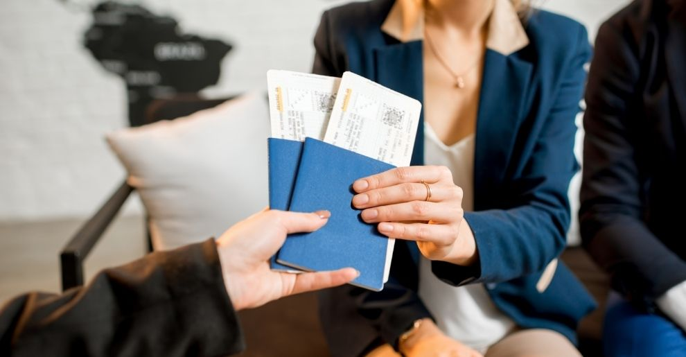 collecting holiday travel tickets from tour operator